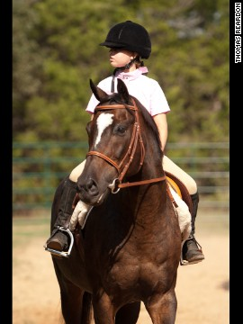 Alexa Anderson competes on ex-racer Big Trump at LOPE's Annual Benefit Horse Show.