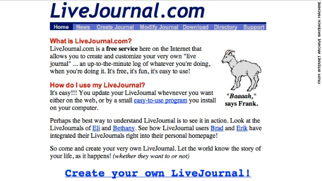 """Baaaah,"" said goat mascot Frank of <a href='http://livejournal.com' target='_blank'>livejournal.com</a>. This screenshot shows the social blogging site as it appeared in November 1999."