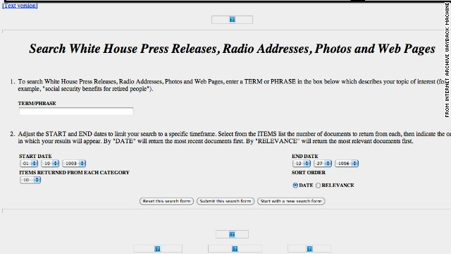 The <a href='http://whitehouse.gov' target='_blank'>whitehouse.gov</a> of December 1996 included a search feature and a text-only site.