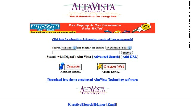 The <a href='http://altavista.com' target='_blank'>altavista.com</a> site is now an iconic darling of Internet history. The October 1996 version of the site boasted a search field, banner ad and some fun extras.