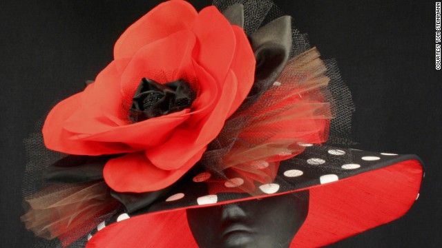 Sally Steinmann has never owned a horse, but her heart is full of love for them. Now, she creates hats in honor of retired racehorses at Old Friends. A hat is auctioned off to benefit their welfare each month for six months, leading up to the Kentucky Derby. Pictured here is a hat designed in honor of retiree Popcorn Deelites.