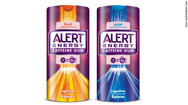 A piece of Alert Energy Caffeine Gum has as much caffeine as half a cup of coffee, Wrigley says.
