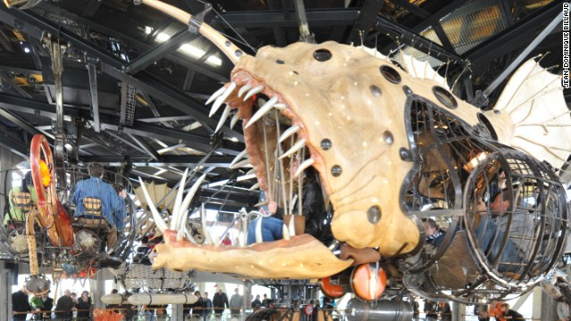 The ecosystem of complex animatronic animals have emerged from the warehouses of Nantes' dilapidated shipyards, the visions of street theater creators Francois Delarozière and Pierre Orefice.