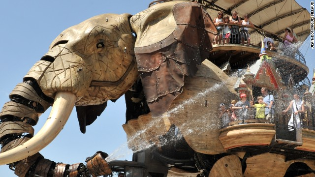 """Les Machines de L'Ile"", an amusement park in Nantes, France, is home to moving mechanical animals, including this 48-ton monster: The Great Elephant."
