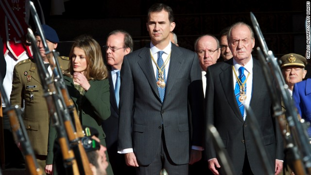 Prince Felipe of Spain, center, will one day take up his father King Juan Carlos' title.