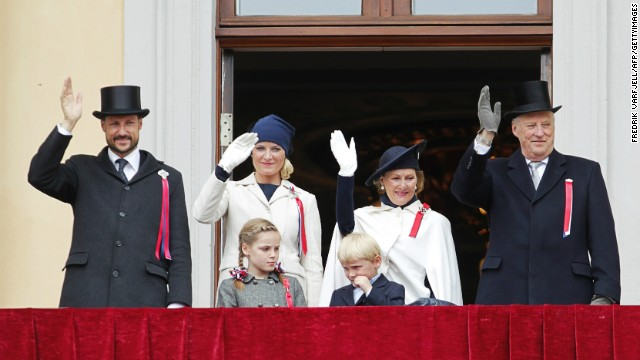 Norway's Crown Prince Haakon, left, and Crown Princess Mette-Marit, second left, are next in line behind King Harald and Queen Sonja.