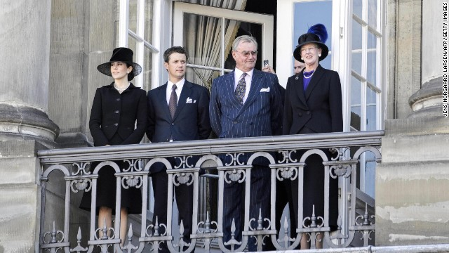 Left to right: Denmark's Crown Princess Mary and Crown Prince Frederik are next in line behind Prince Consort Henrik and Queen Margrethe.