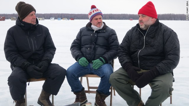 Anthony Bourdain ice fishes with Fred Morin, center, and Dave McMillan, co-owners of the Montreal restaurant Joe Beef, on the Rivière du Nord in St-André d'Argenteuil in mid-February. They're safely atop 2 feet of solid ice that's over 100 feet of water.