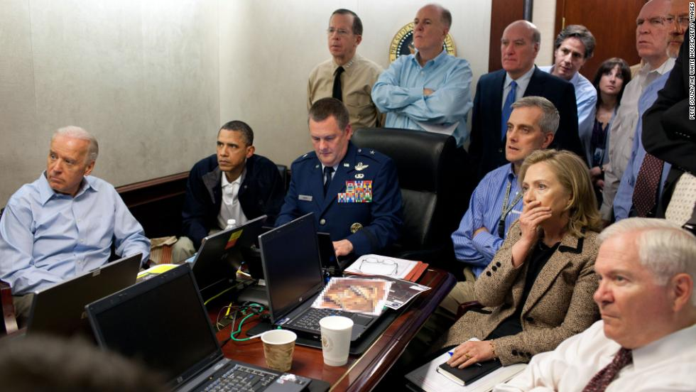 Vice President Joe Biden, left, President Barack Obama, and Secretary of State Hillary Clinton, second from right, watch the mission to capture Osama bin Laden from the Situation Room in the White House on May 1, 2011. Click through to see reactions from around the world following the death of the al Qaeda leader.