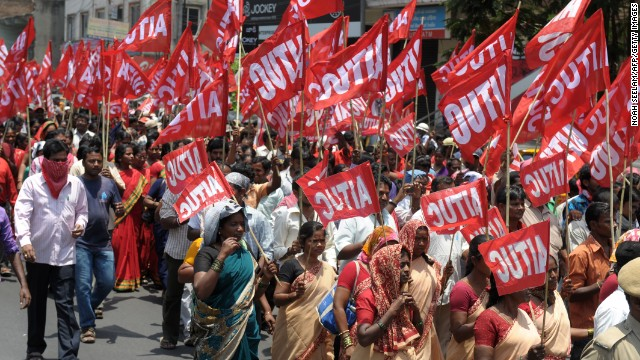 Indian members of the All India Trade Union Congress take part in a rally in Hyderabad.
