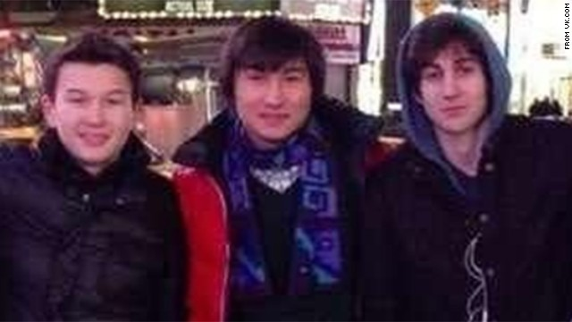 From left, Azamat Tazhayakov and Dias Kadyrbayev went with Boston bombing suspect Dzhokhar Tsarnaev to Times Square in this photo taken from the social media site VK.com. A federal grand jury charged Tazhayakov and Kadyrbayev with obstructing justice and conspiracy to obstruct justice on Thursday, August 8. Both had been arrested and charged in May 2013, but only with the conspiracy count.