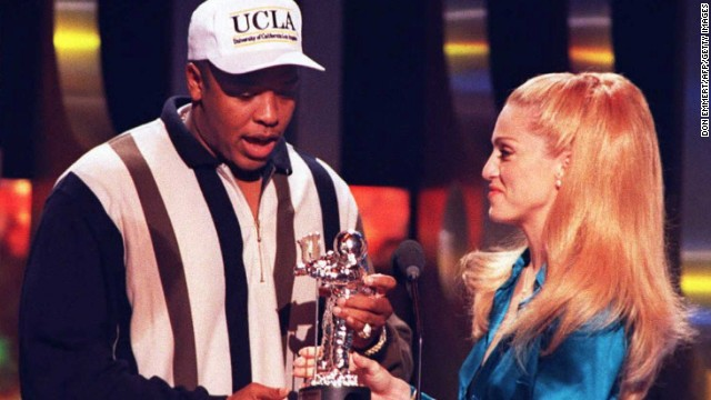 Madonna presented Dr. Dre the award for Best Rap Video during the 1995 MTV Video Music Awards in New York. As a producer he provided some of the hottest beats of the 90s.