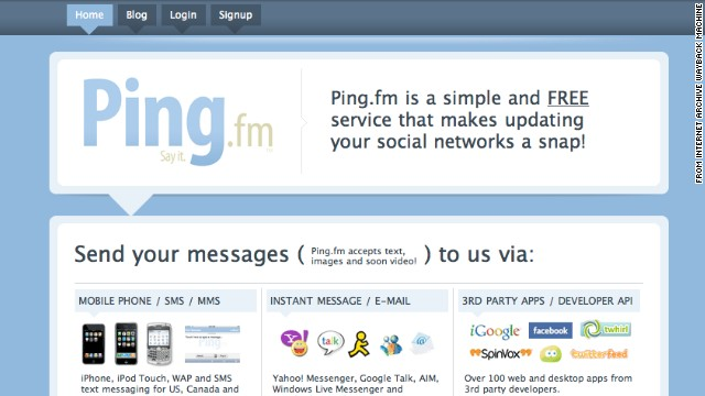 Ping.fm opened in May 2008 and was bought by Seesmic in 2010. The site shut down in July 2012, and Seesmic itself was bought by Hootsuite in September 2012. This screenshot was taken in June 2009.