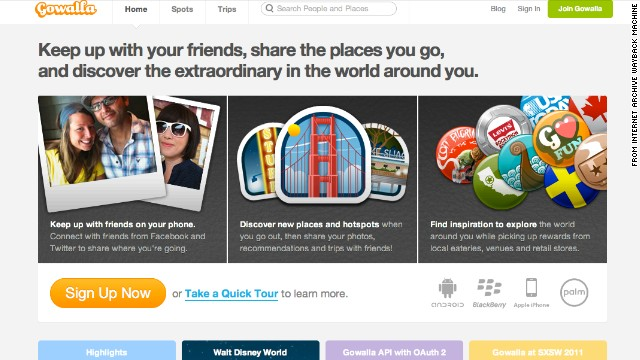 Gowalla, a location-based social network, closed down in March 2012, just three months after being acquired by Facebook. It was founded in 2007 in Austin, Texas. This screenshot was taken in May 2011.