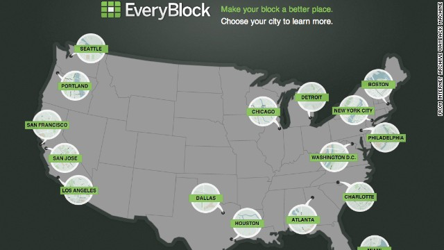 <a href='http://everyblock.com/' target='_blank'>EveryBlock</a>, shown in August 2011, was a hyperlocal portal for information on neighborhoods and city blocks. It was available in several cities. Launched in 2008 in Chicago by Adrian Holovaty, EveryBlock started as an exciting experiment with a two-year $1.1 million grant from the Knight Foundation. The company was acquired by MSNBC.com a year later, and in 2012 NBC News bought MSNBC.com. <a href='http://www.cnn.com/2013/02/07/tech/innovation/everyblock-closed'>The site closed</a> on February 7, 2013.