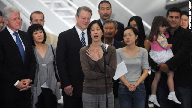 North Korea has arrested Americans before, only to release them after a visit by a prominent dignitary. Journalists <strong>Laura Ling</strong>, center, and <strong>Euna Lee</strong>, to her right, spent 140 days in captivity after being charged with illegal entry to conduct a smear campaign. They were <a href='http://www.cnn.com/2009/US/09/02/journalists.ordeal/index.html'>freed in 2009</a> after a trip by former President Bill Clinton.