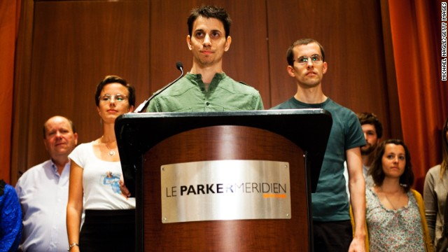 <strong>Josh Fattal</strong>, center,<strong> Sarah Shourd</strong>, left, and <strong>Shane Bauer</strong> were detained by Iran while hiking near the Iraq-Iran border in July 2009. Iran charged them with illegal entry and espionage. Shourd was released on bail for medical reasons in September 2010; she never returned to face her charges. Bauer and Fattal were convicted in August 2011, but the next month they were <a href='http://www.cnn.com/2011/WORLD/meast/09/16/iran.hikers.timeline/index.html'>released on bail</a> and had their sentences commuted.