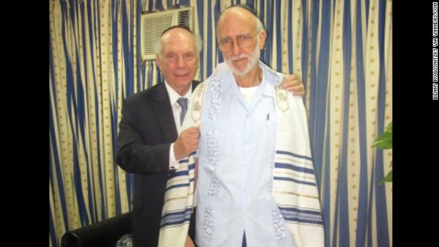 Alan Gross, at right with Rabbi Arthur Schneier, has been in Cuban custody since December 2009, when he was jailed while working as a subcontractor. Cuban authorities say Gross tried to set up illegal Internet connections on the island. Gross says he was just trying to help connect the Jewish community to the Internet. Former President Jimmy Carter and New Mexico Gov. Bill Richardson have both traveled to Cuba on Gross' behalf, but they were unable to secure his release.