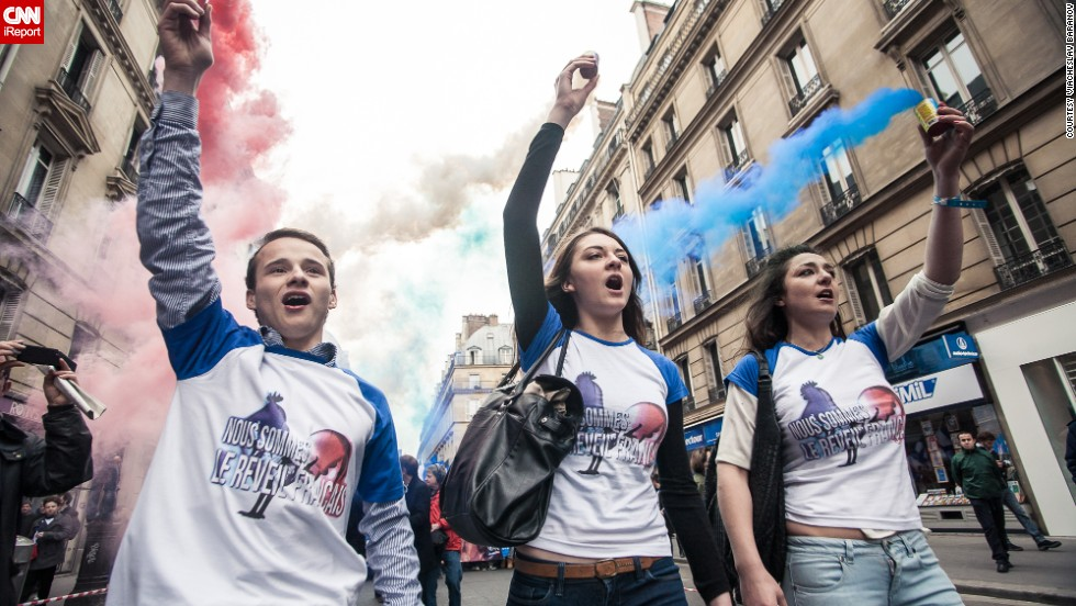 Hundreds of supporters of Marine Le Pen, leader of France's far-right National Front party, took to the streets on May Day Wednesday as part of the day's celebrations in images captured by<a href='http://ireport.cnn.com/people/Batareykin'> iReporter Batareykin</a>.