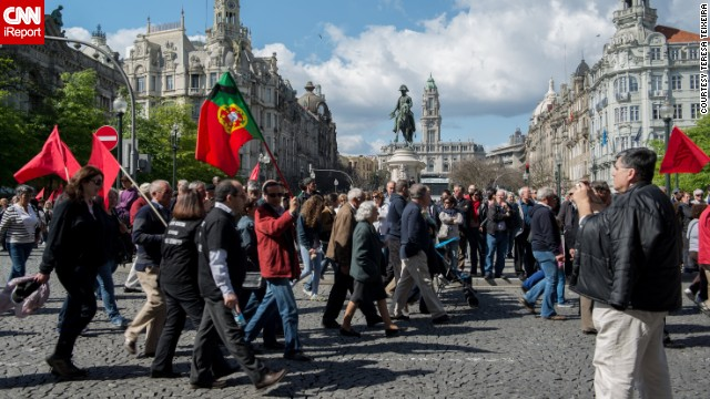 "iReporter TTeixeira captured this image from a May Day protest in Porto, Portugal. ""People protested with great order, but showed discontent against the government who they blame for this economic crisis,"" she said. ""They want the government to resign and the Troika out of this country."""