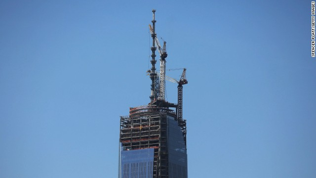 A 408-foot spire is perched on a temporary platform on the top of One World Trade Center on Thursday, May 2, in New York. When bolted into place at a later date, the spire will make 1 World Trade Center the tallest building in the Western Hemisphere. The memorial building sits on ground zero, the site of the World Trade Center twin towers, which were destroyed in the September 11 terrorist attacks.