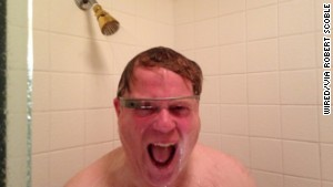 Tech journalist Robert Scoble posted a photo of himself in the shower. It landed on Tumblr\'s White Men Wearing Google Glass.