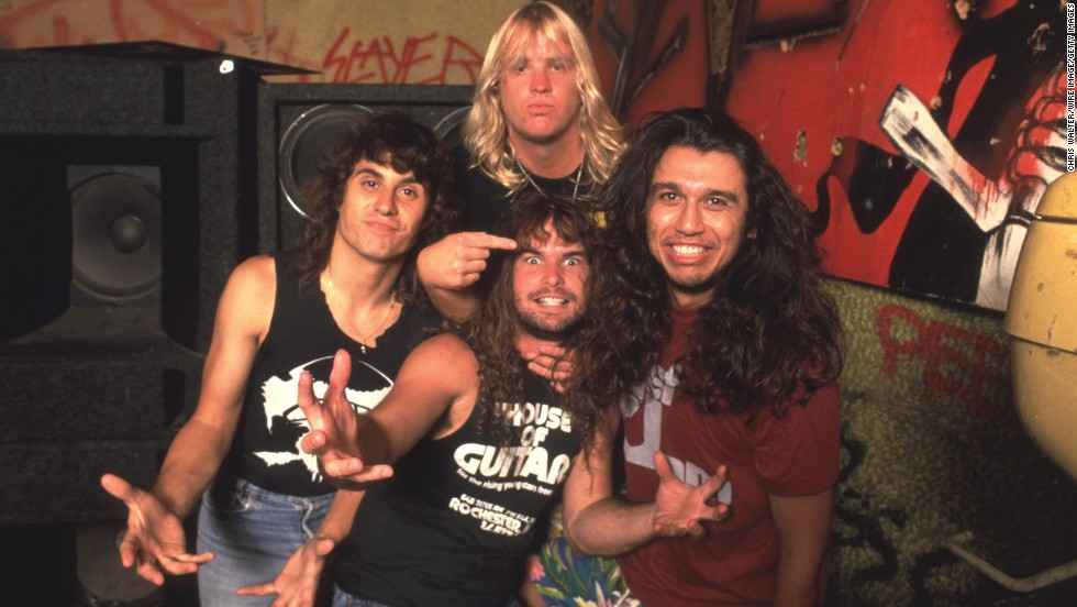 The 1980s is famous for its hair metal, but Slayer, which<a href='http://www.cnn.com/2013/05/02/showbiz/california-jeff-hanneman-obit/index.html?hpt=en_c1' target='_blank'> lost one of its founding members when Jeff Hanneman died</a> Thursday, stood apart. The band, seen here in 1986, earned acclaim throughout that decade with their distinctive take on thrash metal. Slayer wasn't the only group on the harder side -- here are eight other heavy metal favorites that we rocked to in the '80s: