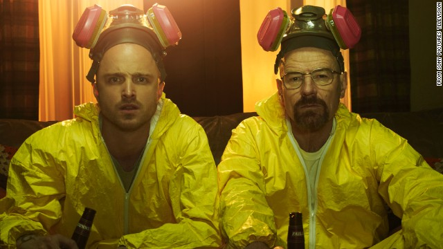 """Breaking Bad"" may be history, but stars Bryan Cranston, right, and Aaron Paul are still keeping the show in the spotlight. The two starred in a promotional video for the Emmys with Julia Louis-Dreyfus (""Veep"") that included a clever reference to their meth-cooking characters -- as well as some digs at the awards. The AMC show is up for a vat-load of Emmys, including nominations for Cranston, Paul and best drama. Here are some indelible scenes from its five seasons (SPOILER ALERT: Read no further if you don't want plot points revealed)."