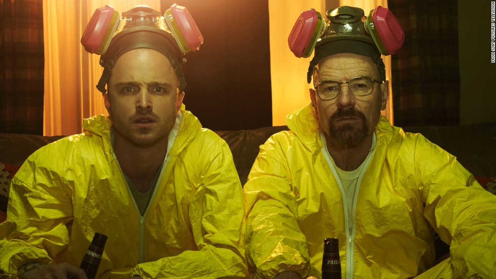 "The AMC drama ""Breaking Bad,"" about a chemistry teacher (played by Bryan Cranston, right) who starts cooking meth with a former student (Aaron Paul, left) after he's diagnosed with cancer, aired its final episode. Here are some indelible scenes from its five seasons (SPOILER ALERT: Read no further if you don't want plot points revealed)."