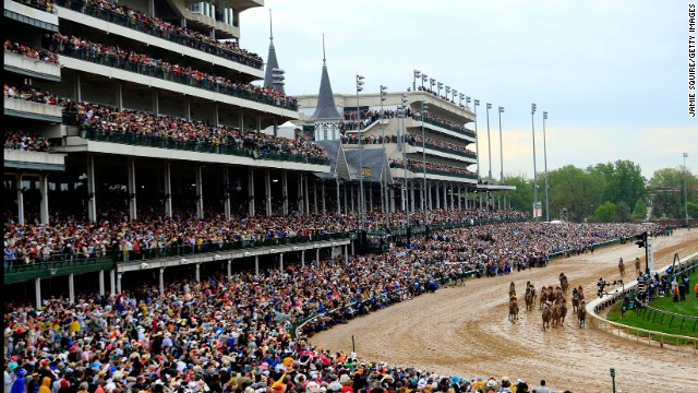 The horses enter the home stretch in front of more than 150,000 fans at Churchill Downs.