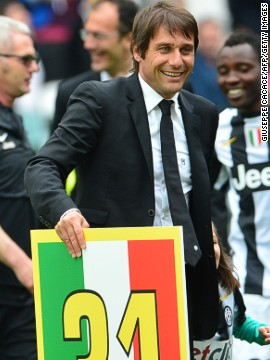 Coach Antonio Conte celebrated after leading his team to a second successive scudetto.