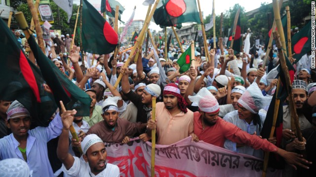 Islamist protesters gather on a highway at an entry point to the city as as part of their protest in Dhaka, Bangladesh, on Sunday, May 5. 