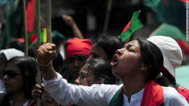 A Bangladeshi protester shouts during a rally on April 8 against the strike called by Hefazat-e-Islam. <strong><i>Correction:</i></strong><i> An earlier version of this caption misstated what this woman was protesting. It implied she was supporting the conservative Islamist movement that called the strike.</i>