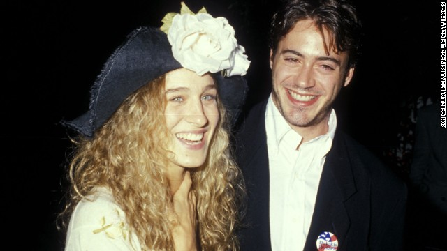 Actress Sarah Jessica Parker and Downey dated for years during the 1980s, and according to Downey, they broke up in 1991<a href='http://www.huffingtonpost.com/2008/04/16/robert-downey-jr-on-datin_n_97012.html' target='_blank'> because of his drug problem</a>. Here, the couple attend a cocktail party for the Dukakis presidential campaign at Norman Lear's home in Beverly Hills, California, on September 15, 1988.