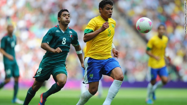 Thiago Silva was Brazil's captain against Mexico in the Olympic final at Wembley. Mexico won 2-1.
