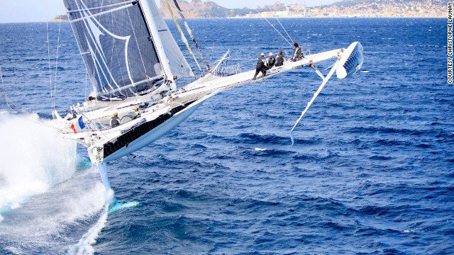 In fact, the record-breaking vessel -- called Hydroptere -- is one of the fastest sailboats in the world, harnessing wind power much the same as an airplane.