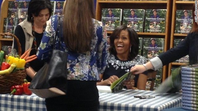 First lady promotes book and tackling childhood obesity
