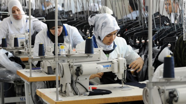 Women work at a textile factory in Tangier on November 10, 2010.