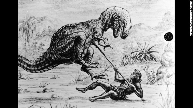 An illustration for an unidentified Harryhausen film shows a caveman lying on the ground with a spear as he is attacked by a dinosaur, circa 1965.