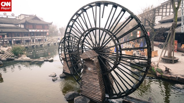 "Water mills stand in the historic town of Huanglongxi. ""I felt like I was back to the olden days,"" said Ter Chieng Chuan. ""The unique infrastructure really impressed me."""