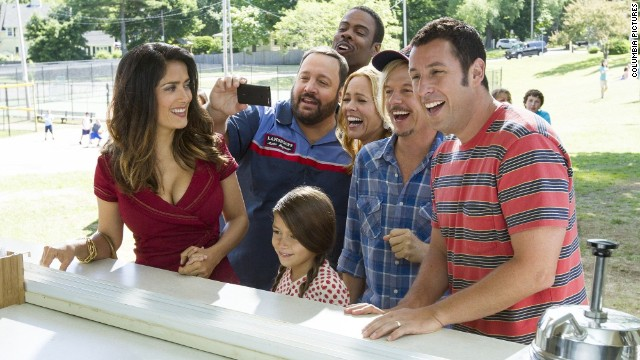"Adam Sandler (far right, with Salma Hayek, Kevin James, Chris Rock, Maya Rudolph and David Spade) can do no right with critics. ""Grown Ups 2"" received just 7% approval, according to Rotten Tomatoes. It still made $129 million domestically."