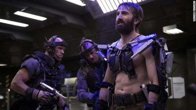"Sharlto Copley stars as Kruger in ""Elysium"" with Matt Damon and Jodie Foster. Other flicks hitting the big screen today are ""Percy Jackson: Sea of Monsters,"" ""Planes"" and ""We're the Millers."""