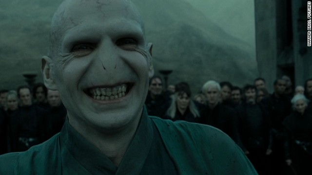 "If we were in the wizard world right now, we wouldn't even mention the villain that landed actor Ralph Fiennes on this list. Fiennes' Lord Voldemort is pictured here in the final installment of the ""Harry Potter"" franchise."