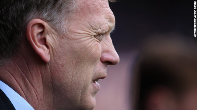 Moyes is pictured prior to kick off during the English Premier League match between Everton and Fulham at Goodison Park last month. Moyes is leaving Everton at the end of the season after he told the Merseyside club's chairman Bill Kenwright of his desire to join United and succeed Ferguson.