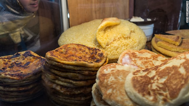 Morocco's souks serve an array of pan-fried, waistline-busting loaves. Particularly good are beghrir (spongy bread a bit like crumpets), harsha (buttery bread made of fine semolina) and rghaif (flaky, layered flat bread).