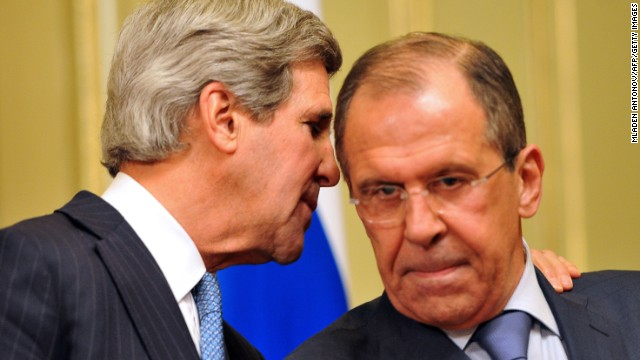 US Secretary of State John Kerry (left) and his Russian counterpart Sergei Lavrov in Moscow on May 7, 2013.