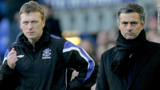 Jose Mourinho, who is now Real Madrid coach, and Moyes look on during the FA Cup fourth round match between Everton and Chelsea at Goodison Park in January 2006 in Liverpool. Both men were potential candidates to replace Ferguson, before Moyes agreed a six-year deal with United.