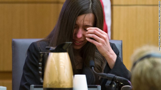 Arias breaks down on February 28 after being asked by Martinez if she was crying when she stabbed Alexander and slit his throat.