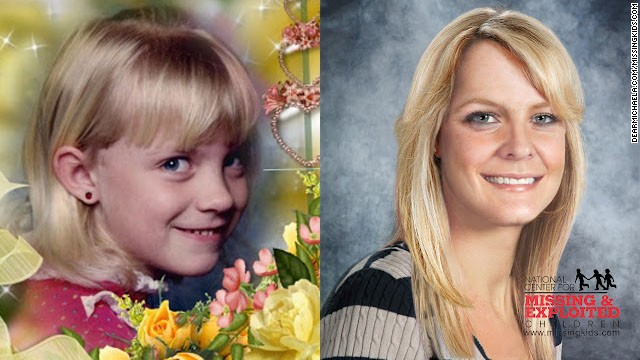 Witnesses saw a man grab 9-year-old Michaela Joy Garecht outside a store near her home near Oakland, California, in November 1988. Here, Michaela is seen in a childhood photo next to an image of what she might look like today.