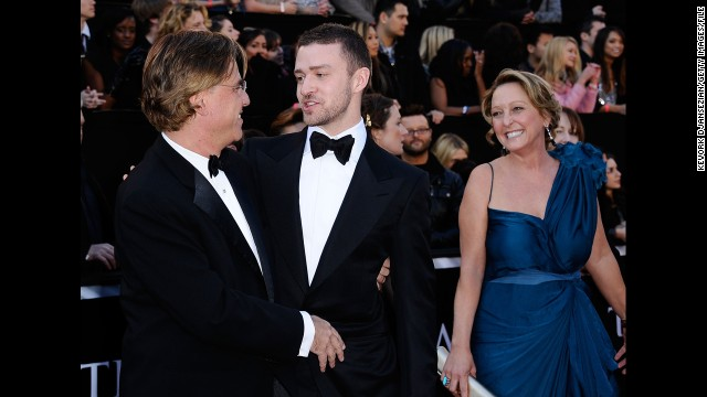 Justin Timberlake's mother, Lynn Harless. Writer Aaron Sorkin is at left.